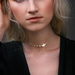 欧美时尚珍珠金属鸽子小鸟单层项链锁骨链