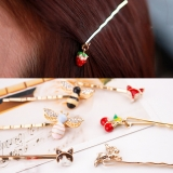 韩国可爱樱桃动物小草莓吊坠边夹刘海夹发夹