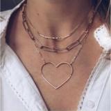 欧美跨境创意简约金色爱心链条三层项链