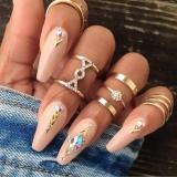 欧美女式个性满钻关节指环流行时尚新款5件套戒指