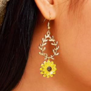 韩国滴油双层雏菊花朵树叶耳环