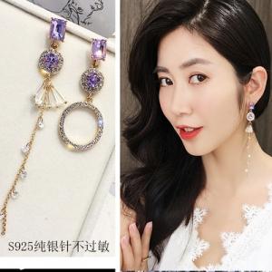 S925银针韩国浪漫紫色个性不对称水钻圆圈流苏尚长款水晶耳钉