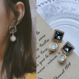 S925银针韩国ins时尚奢华几何宝石气质耳钉