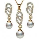 欧美跨境8字双环珍珠项链耳环套装