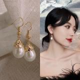 S925银耳钩韩国简约百搭气质椭圆形珍珠耳环