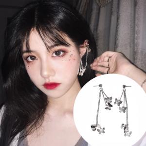 韩国手工蝴蝶网红流苏锆石耳针链子双层耳环耳骨钉耳夹