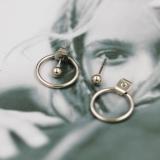 欧美时尚合金豆豆后挂式小圆环简约耳钉男女款