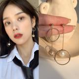 韩国编织金属球珍珠不对称长款耳钉