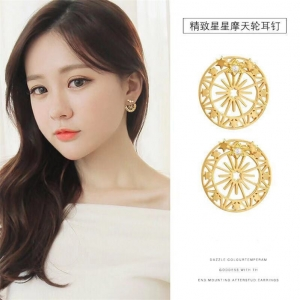 S925银针韩国时尚流行闪耀星空摩天轮星星耳钉