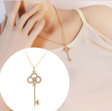 韩国满钻钥匙形简约明星同款项链