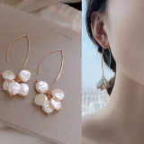 韩国气质ins网红小众百搭珍珠长款耳环
