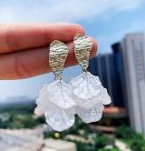 S925银针韩国小清新多层花瓣甜美少女气质耳钉
