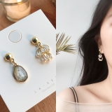 S925银针韩国不对称复古锆石珍珠小众高级感气质网红耳钉