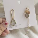 S925银针韩国气质水晶锆石珍珠不对称长款耳钉