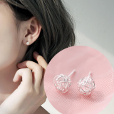 S925银针韩国镂空绕丝球简约清新可爱学生小巧耳钉