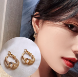 S925银针韩国金箔高级质感简约几何冷淡复古圆耳圈