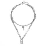 欧美跨境创意时尚几何元素百搭复古钥匙锁形吊坠项链