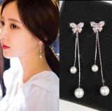 S925银针韩国气质蝴蝶珍珠流苏耳环