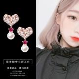 S925银针韩国爱心珍珠个性迷你精致百搭小巧耳钉