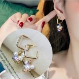 韩国简约珍珠方块锆石高级感设计感小众2019新款耳环