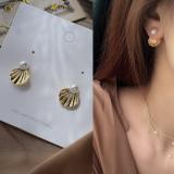 韩国气质淑女韵味贝壳时尚百搭金属后挂珍珠耳钉