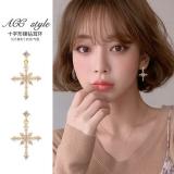 S925银针韩国高级感锆石十字架大气名媛风轻奢长款耳钉