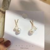 S925银针韩国气质网红时尚百搭x型珍珠简约耳钉