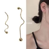韩国复古小众气质高级镀金冷淡风金属不对称几何扭曲极简长款耳钉