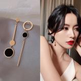 S925银针韩国简约几何不对称小众时尚百搭耳钉