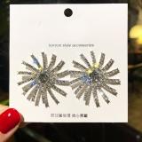 S925银针韩国奢华幸运女神太阳满钻夸张个性耳钉