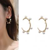 S925银针韩国东大门缠绕珍珠半弧形几何金属树叶耳钉