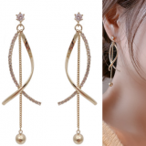 S925银针韩国东大门气质镶钻时尚温柔淑女风长款耳钉