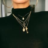 欧美风ins新款时尚潮流女式多层十字架钥匙人头像吊坠项链