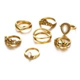 欧美速卖通复古镂空雕花大宝石莲花造型7件套组合戒指