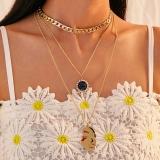 欧美跨境时尚潮品满钻太阳多层金属人脸项链