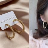 S925银针韩国网红闪亮金色拼接金属圆圈法式气质小众耳圈