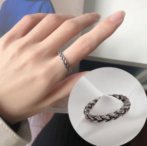 韩国复古朋克潮流个性小众麻花戒指