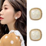 S925银针韩国简约女个性贝壳方块冷淡风ins精致耳钉