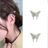 S925银针韩国轻奢锆石蝴蝶2020新款可爱少女耳钉 耳夹