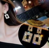 S925银针韩国2020新款奢侈感方块时尚个性网红百耳环