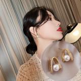 S925银针韩国高级感复古港风金属网红珍珠气质耳钉