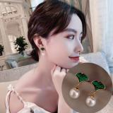 银针韩国银杏绿叶珍珠小清新森系少女优雅耳钉