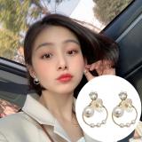 S925银针韩国少女甜美珍珠花朵缕空圆圈锆石耳钉