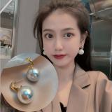 S925银针韩国珍珠2020年新款简约小巧网红个性超仙耳钉
