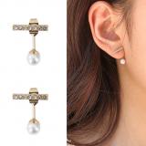 S925银针韩国简约镶钻一字珍珠气质耳钉