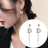S925银针韩国满钻D字母时尚气质百搭流苏长款耳钉