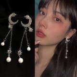 S925银针韩国星月亮新款网红气质珍珠长款流苏高级感耳钉
