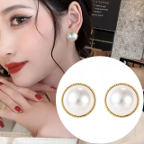 S925银针韩国金边珍珠简约圆形2020新款气质耳钉