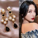 S925银针韩国黑水滴复古珍珠夸张奢华宫廷风耳钉