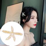 S925银针韩国海星珍珠网红ins边夹少女简约复古顶夹发夹